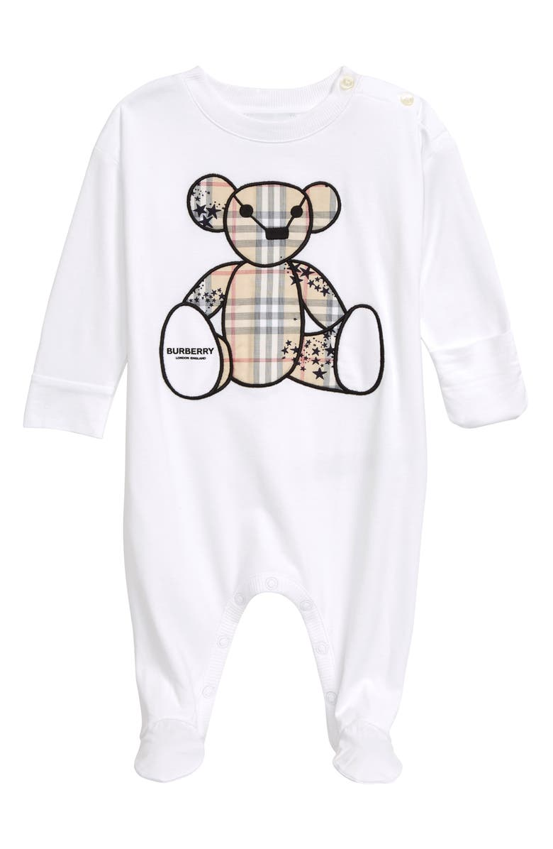 BURBERRY Check & Star Bear Cotton Footie, Main, color, WHITE