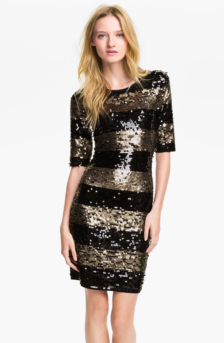 BCBGMAXAZRIA Sequin Stripe Sheath Dress, Main, color, 001