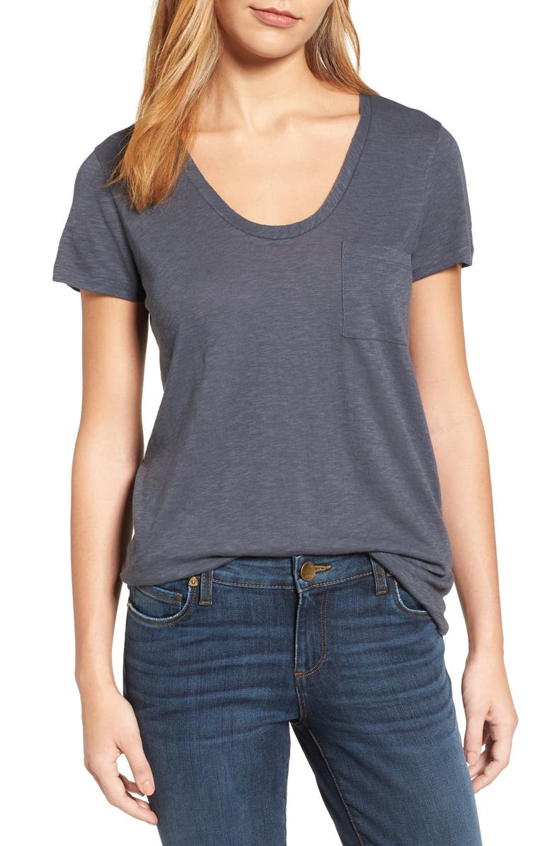 CASLON<SUP>®</SUP> Rounded V-Neck T-Shirt, Main, color, GREY EBONY