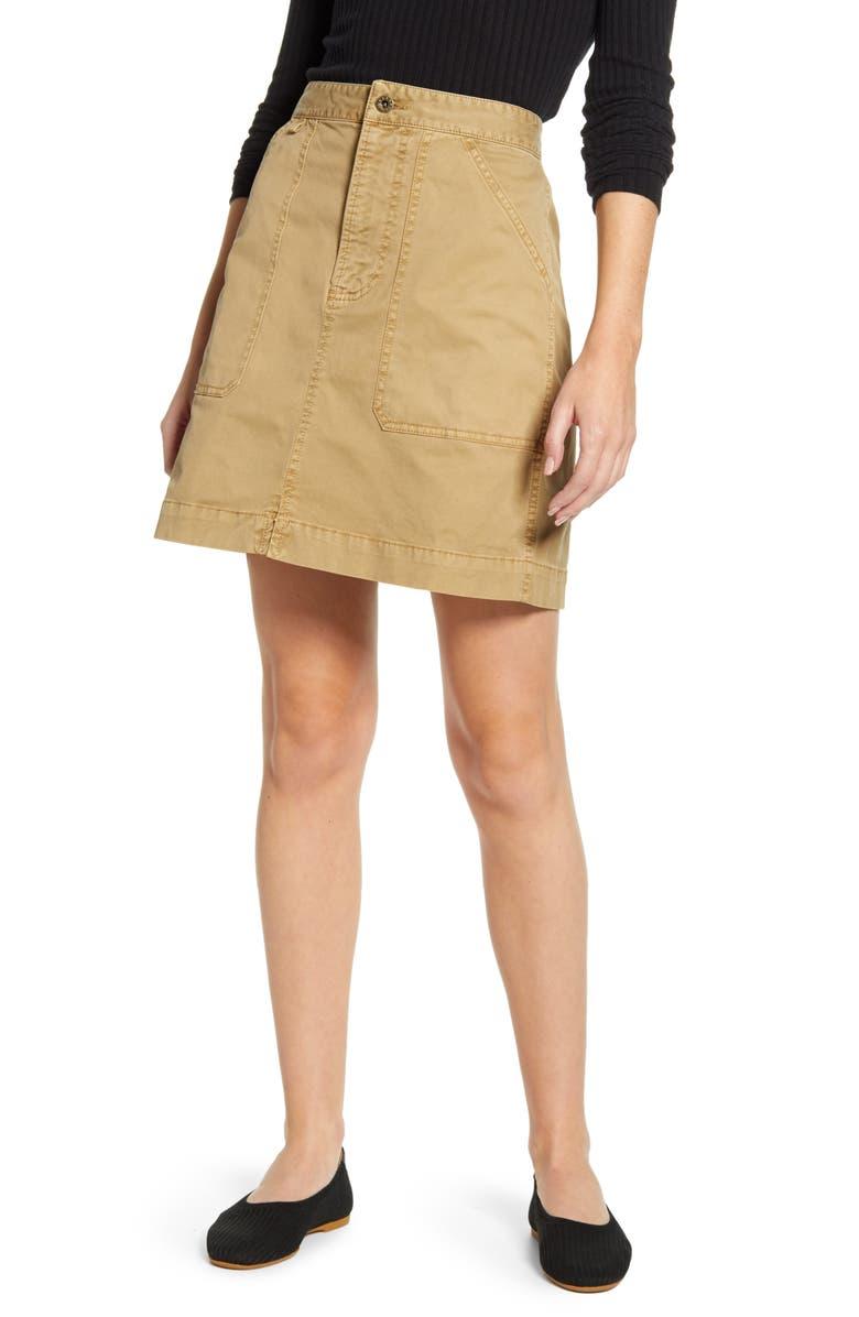 ALEX MILL Washed Twill Skirt, Main, color, KHAKI