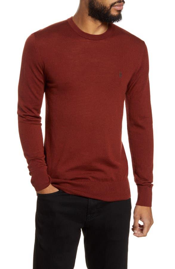 Allsaints Mode Slim Fit Merino Wool Sweater In Vista Red Marl