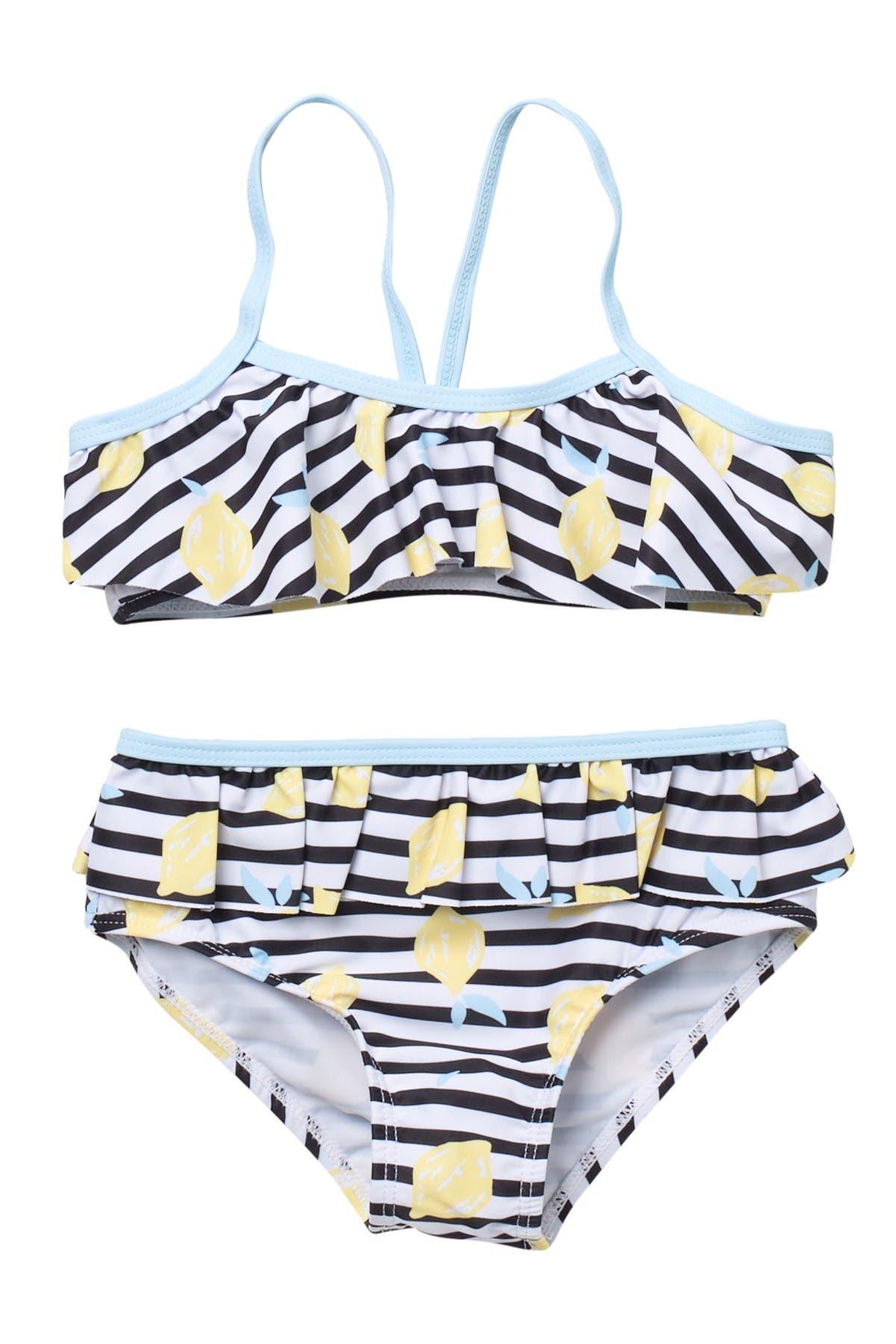 Image of Andy & Evan Stripe Lemon Two-Piece Swimsuit