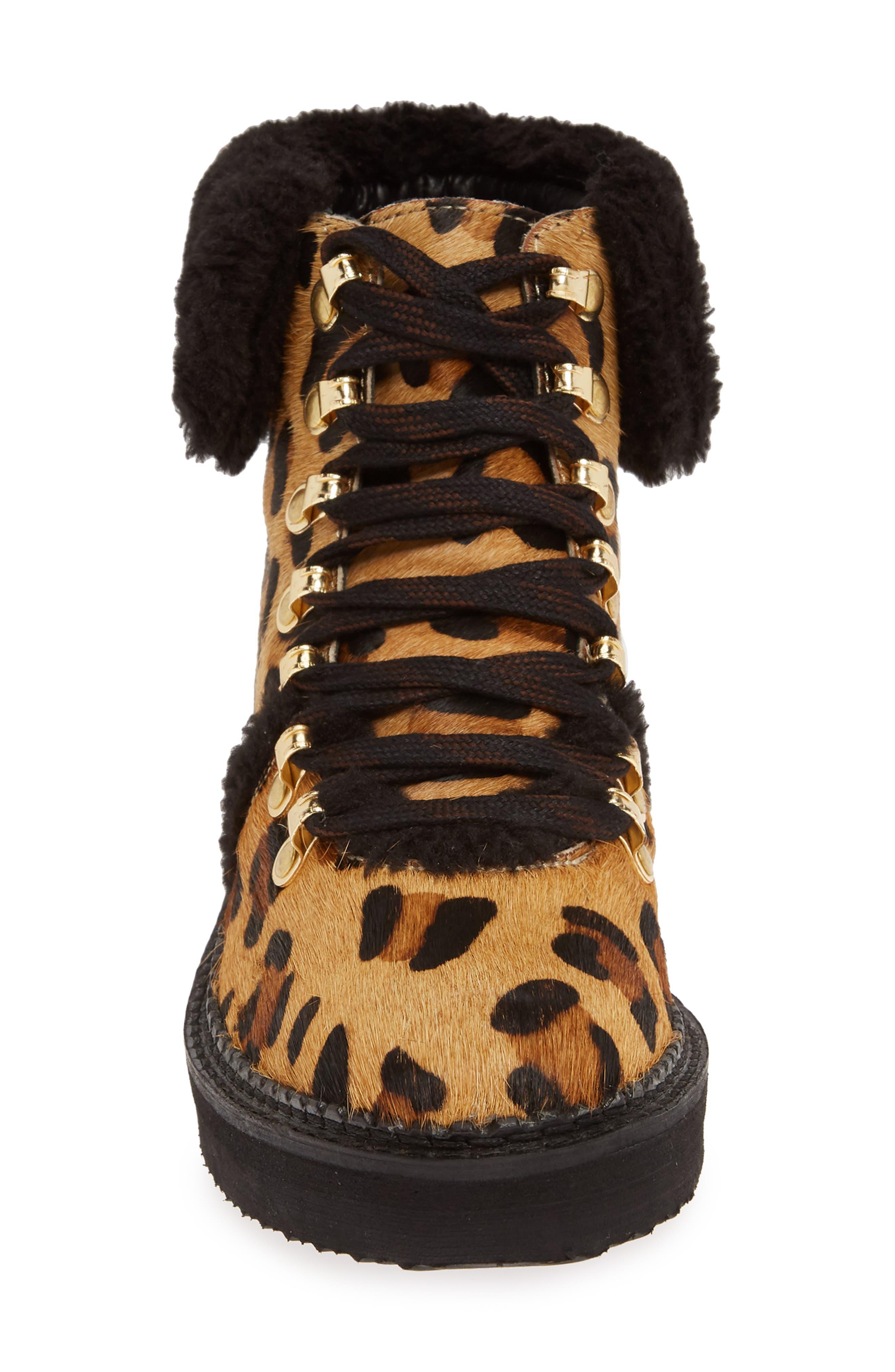 ,                             Tonkin Genuine Calf Hair Hiker Boot,                             Alternate thumbnail 4, color,                             BLACK LEOPARD LEATHER
