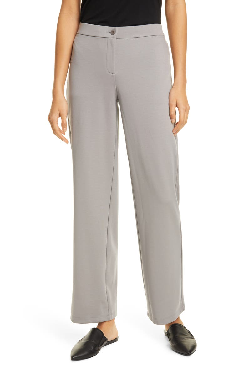 EILEEN FISHER Straight Leg Ankle Pants, Main, color, ZINC