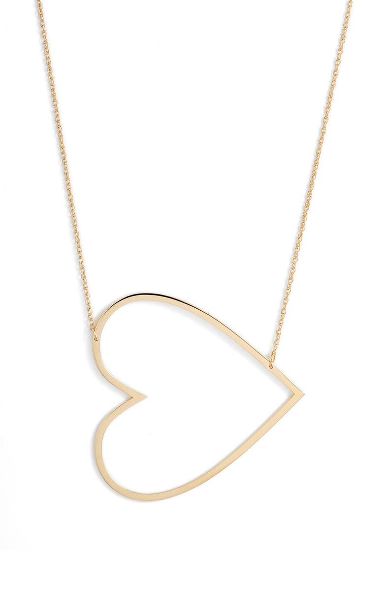 JENNIFER ZEUNER Marissa Heart Pendant Necklace, Main, color, YELLOW VERMEIL