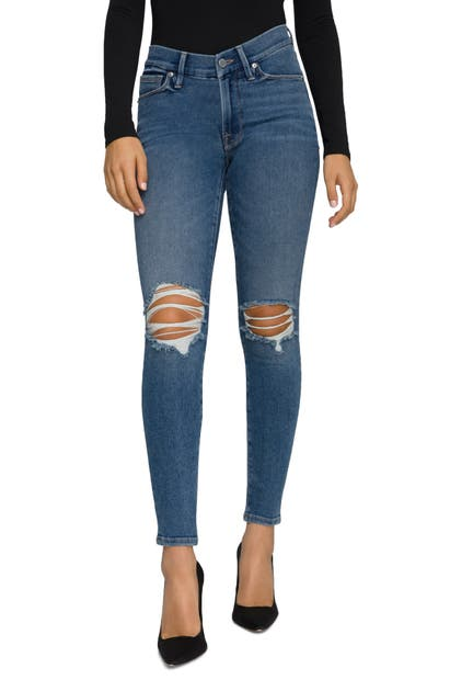 Good American NOTCHED LOW RISE SKINNY JEANS