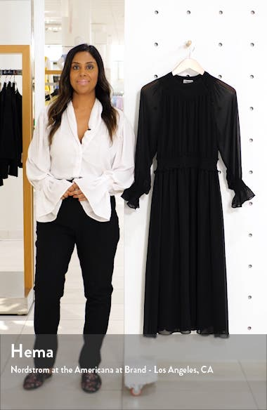 Smocked Neck Long Sleeve Chiffon Midi Dress, sales video thumbnail