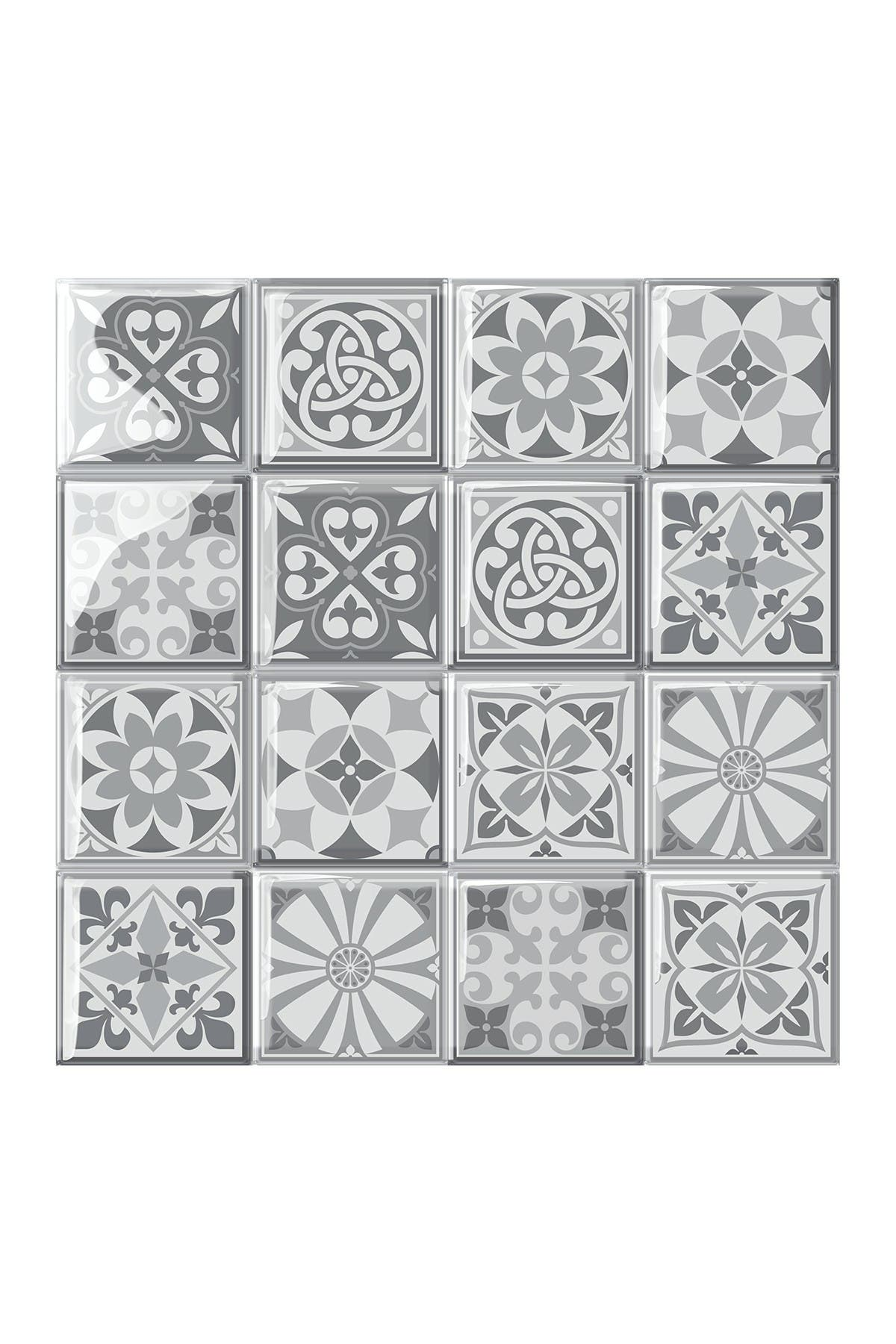 Image of WalPlus Purbeck Stone Glossy 3D Sticker Tile 15.4 cm (6 in) - 16pcs in a pack