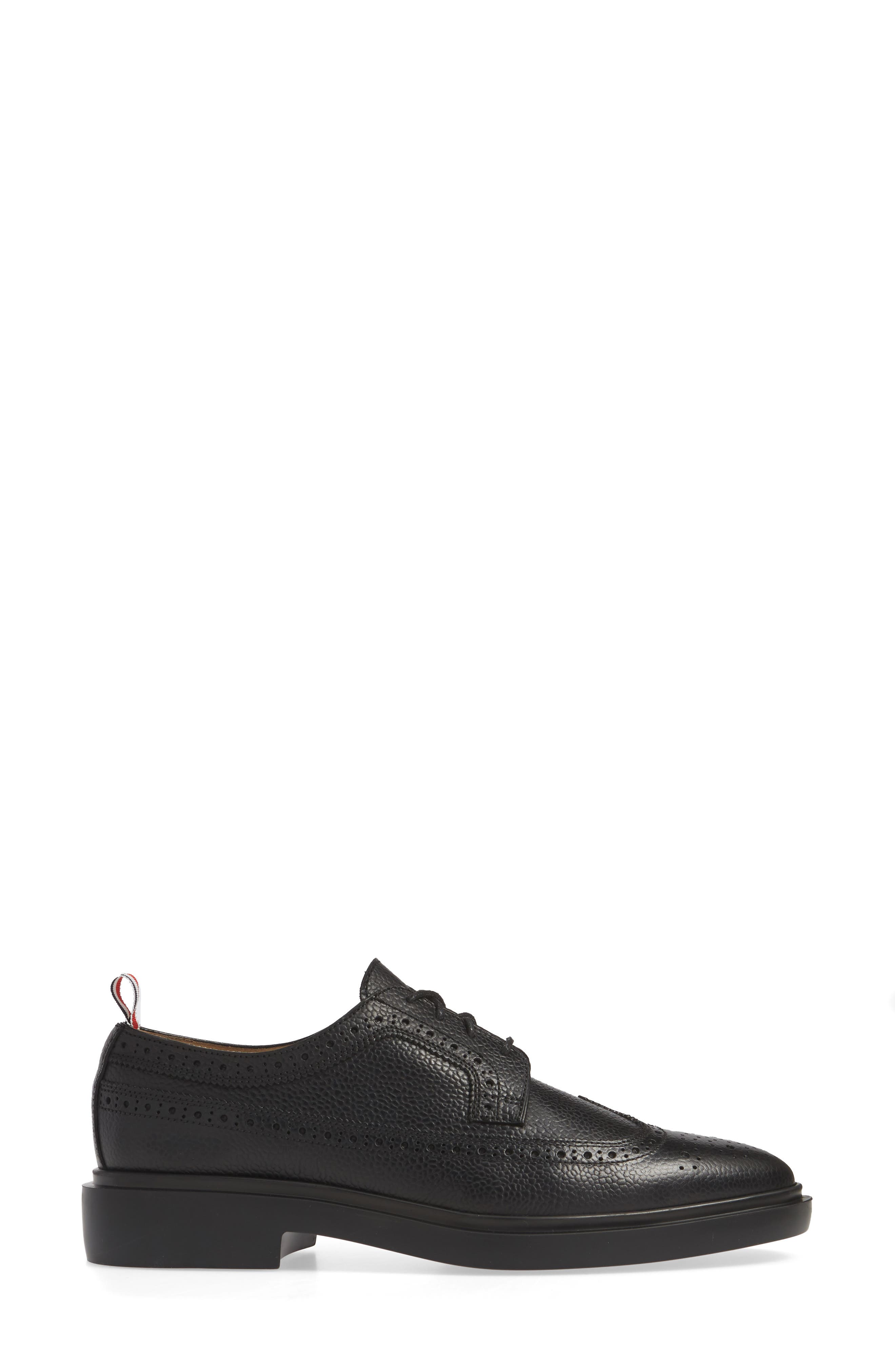 ,                             Brogue Textured Loafer,                             Alternate thumbnail 3, color,                             BLACK