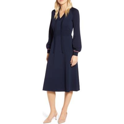 Tommy Hilfiger Tie Neck Long Sleeve Midi Sweater Dress, Blue