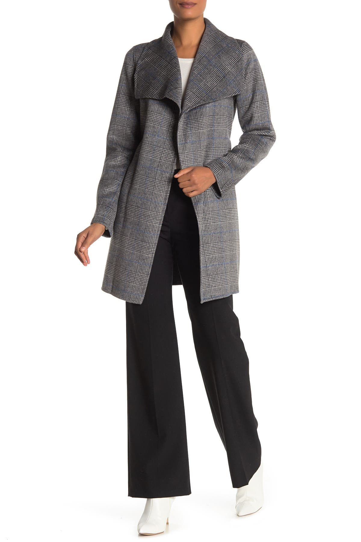 Image of Tahari Ella Novelty Plaid Print Wool Blend Coat