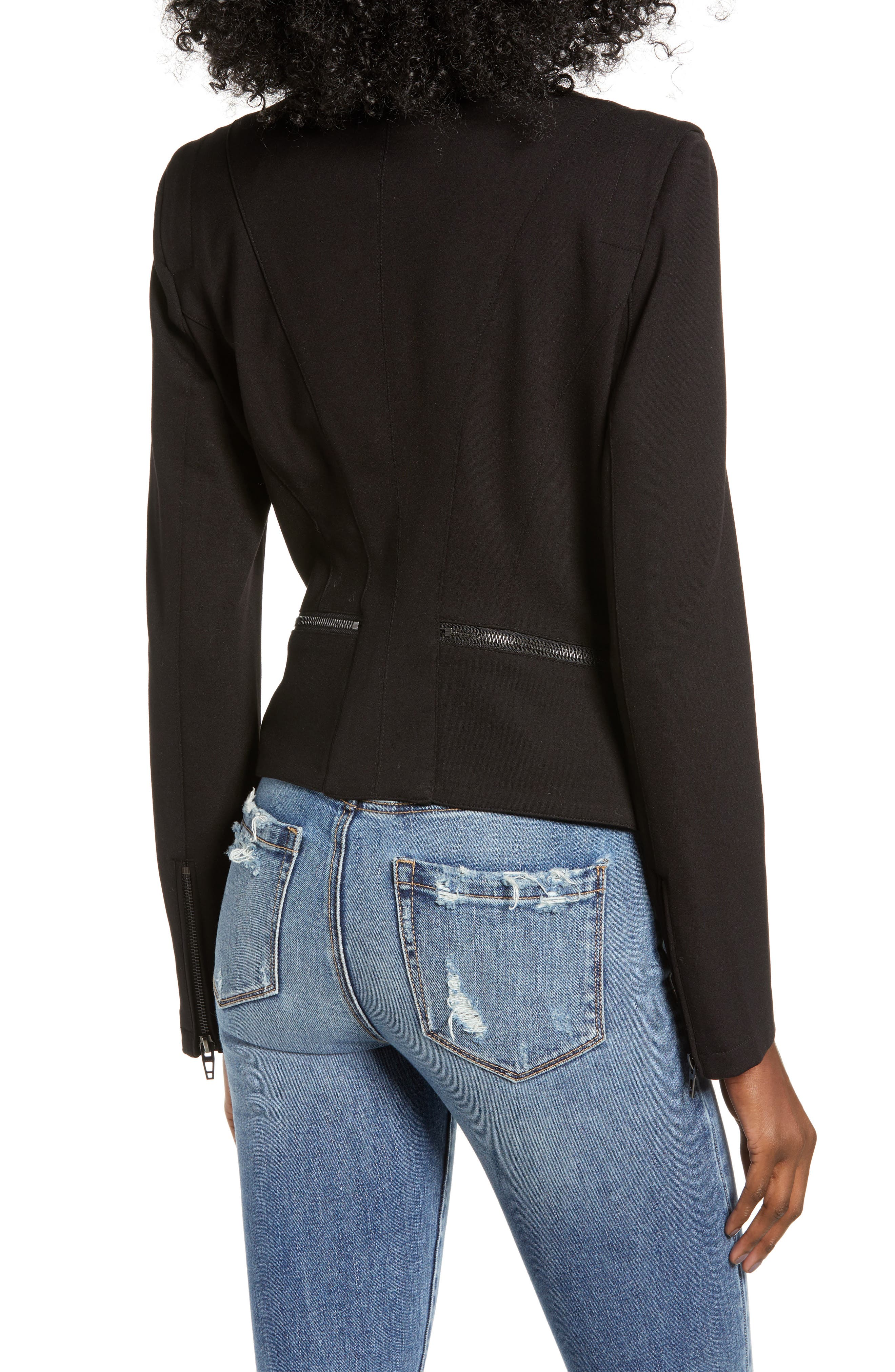 ,                             Zip Detail Fitted Ponte Jacket,                             Alternate thumbnail 2, color,                             CAVIAR