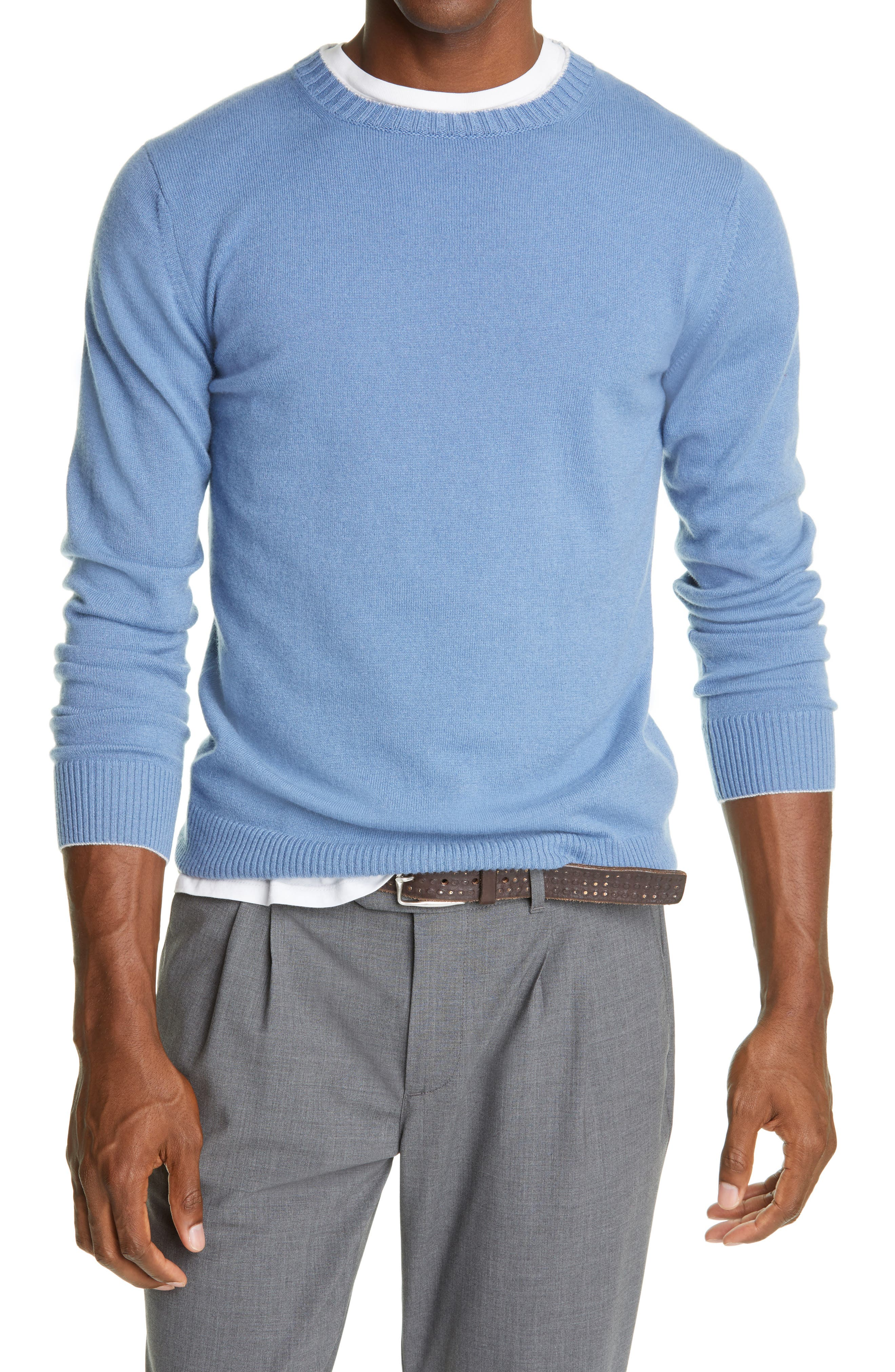 Simple, timeless style defines this sky-blue sweater made from supersoft cashmere. Style Name: Eleventy Cashmere Crewneck Sweater. Style Number: 6078469. Available in stores.
