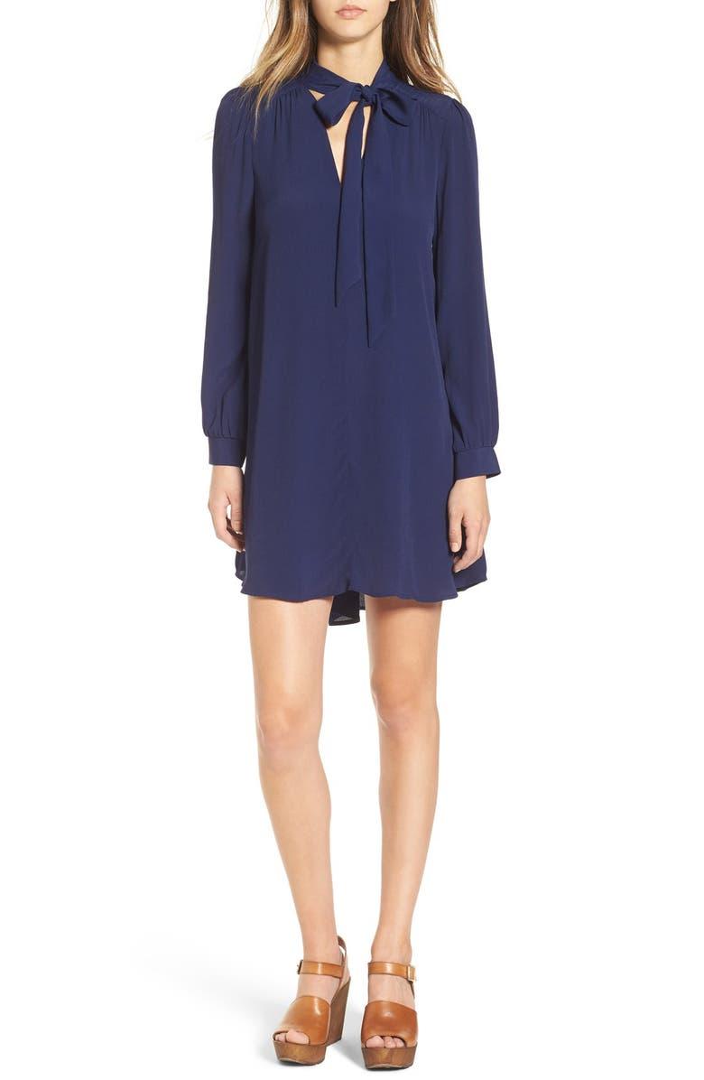 ASTR THE LABEL ASTR 'Delia' Tie Neck Shirtdress, Main, color, 400