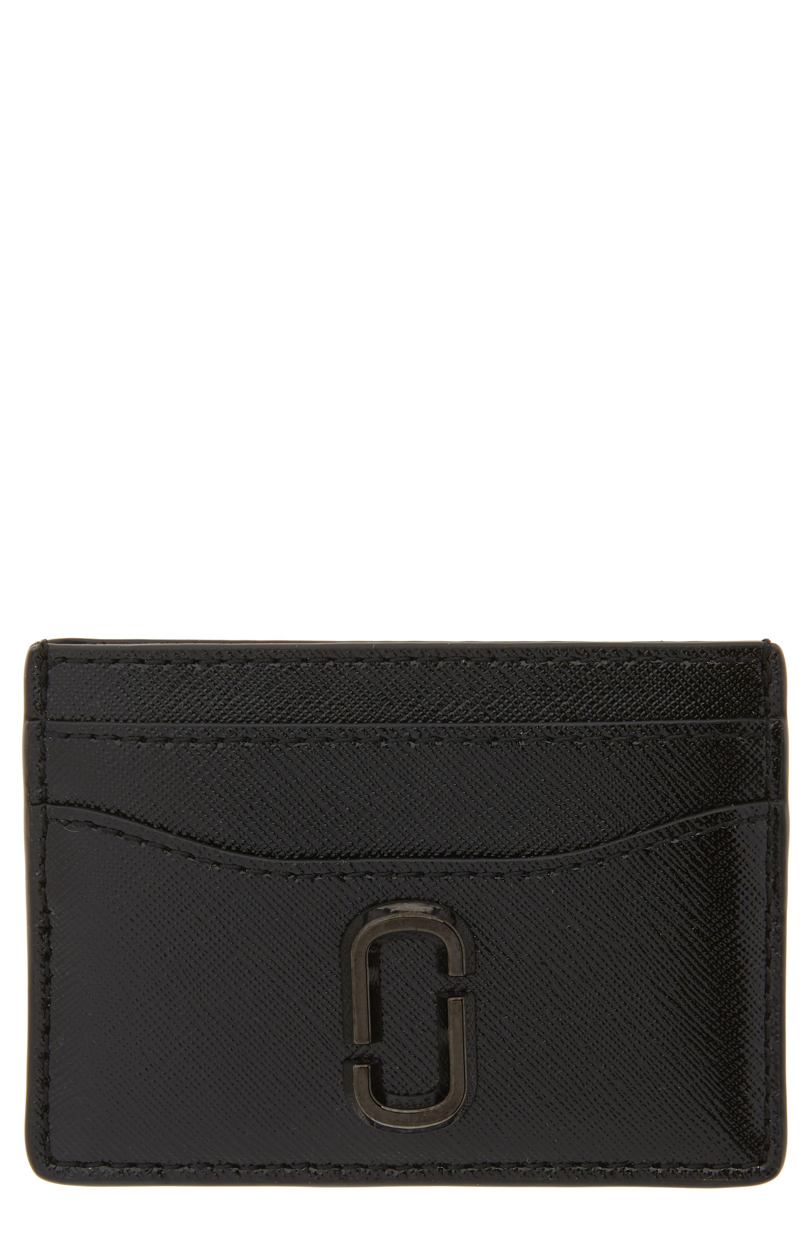 ,                             Snapshot Leather Card Case,                             Main thumbnail 1, color,                             BLACK