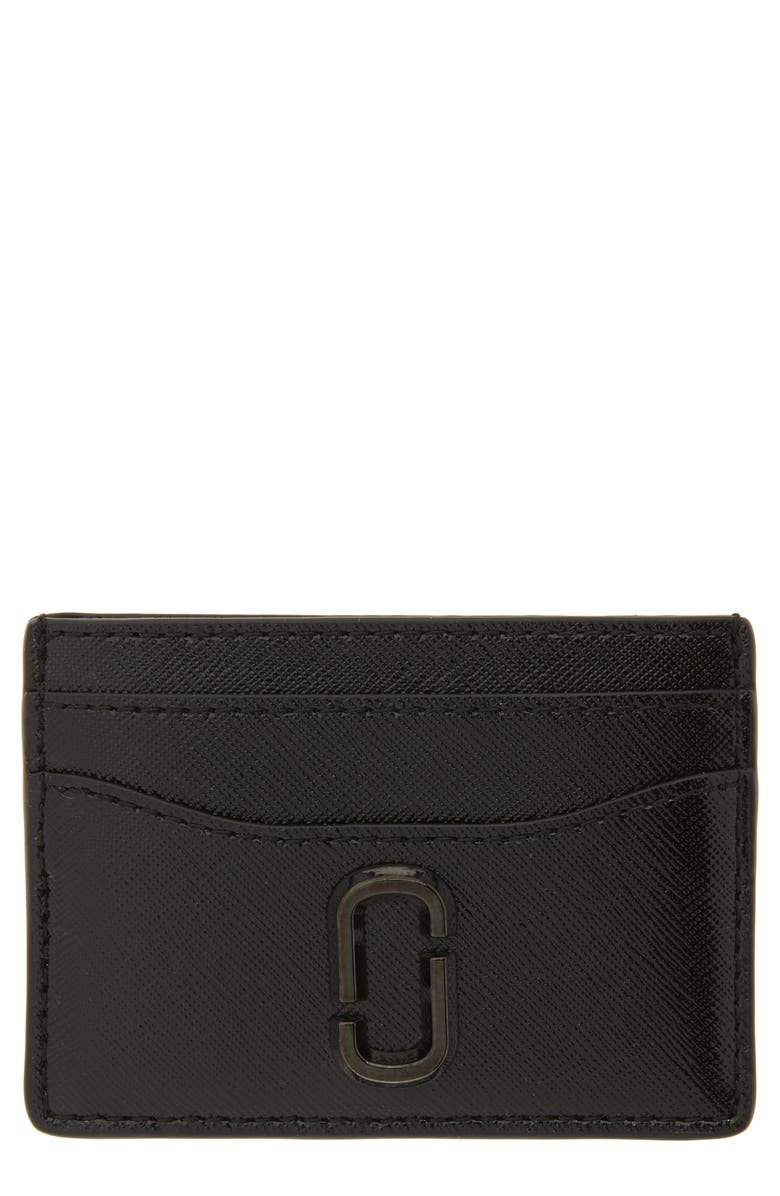 THE MARC JACOBS Snapshot Leather Card Case, Main, color, BLACK