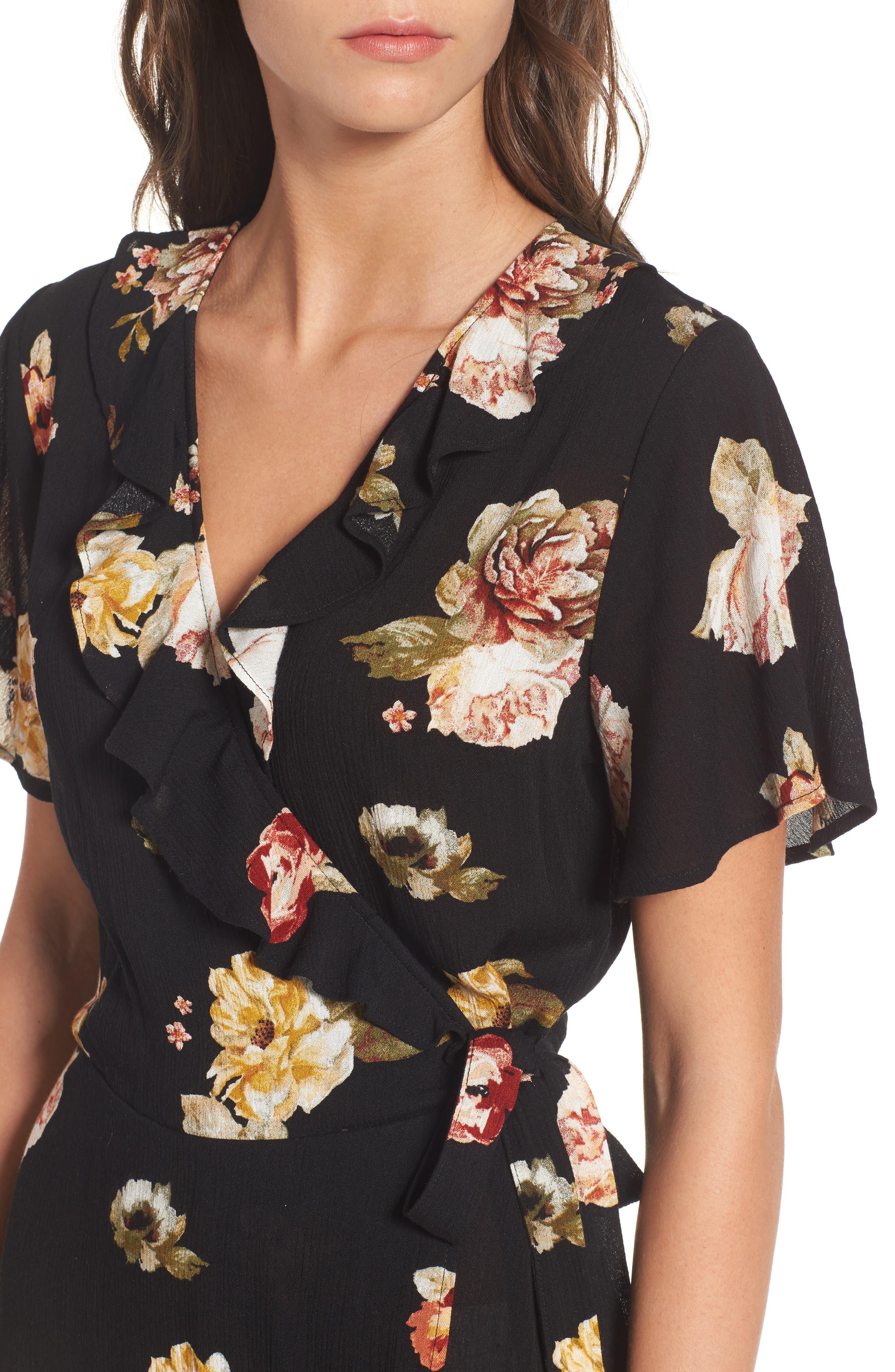,                             Floral Gauze Wrap Dress,                             Alternate thumbnail 4, color,                             001