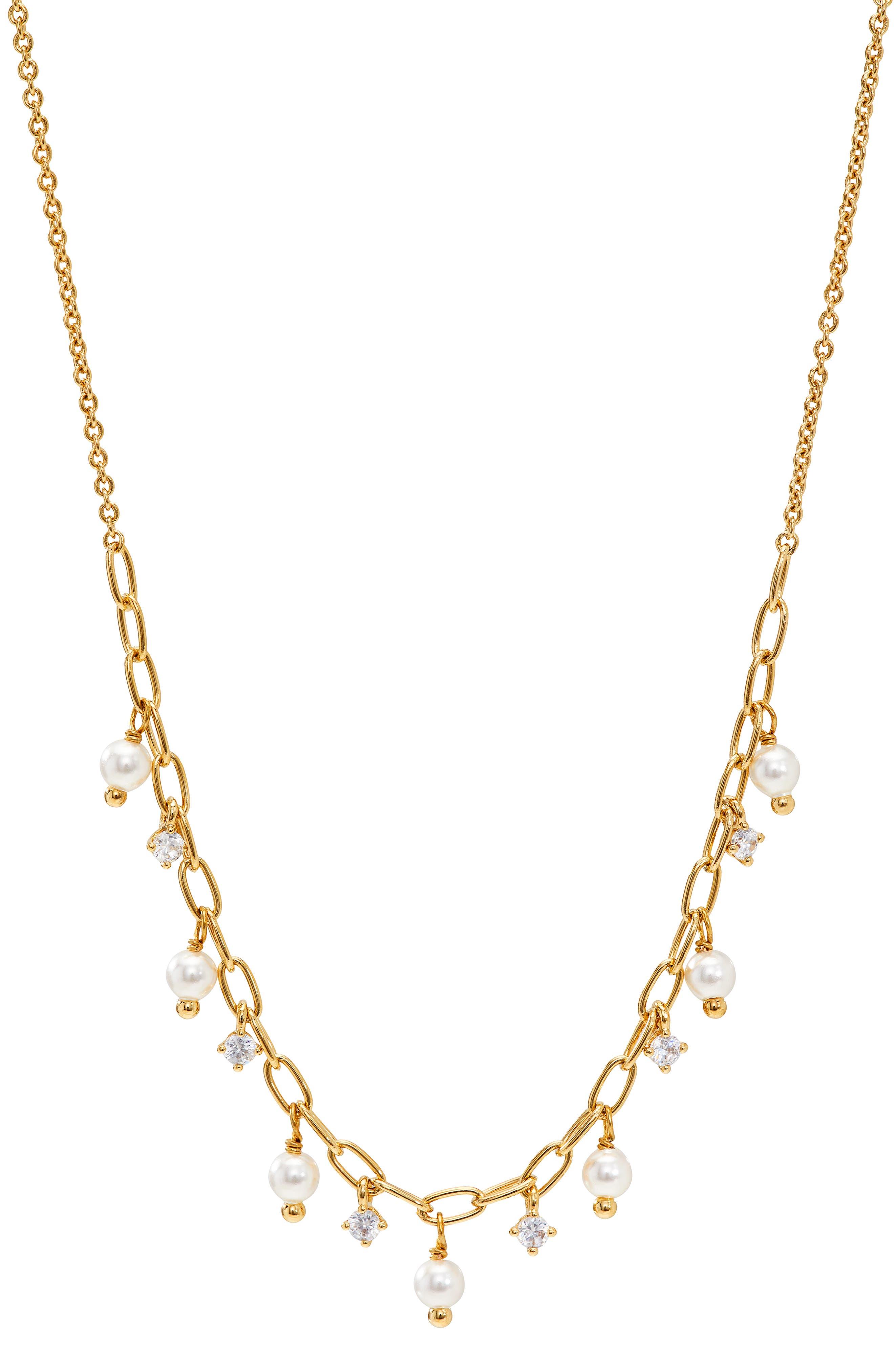 Shaky Cubic Zirconia & Imitation Pearl Necklace