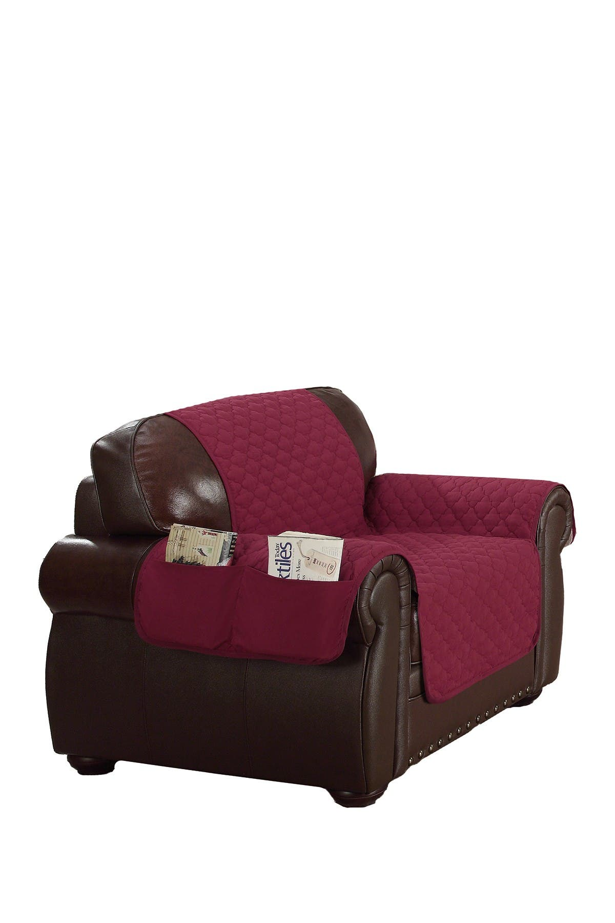 Image of Duck River Textile Garnet/Natural Reynold Reversible Water Resistant Microfiber Chair Cover