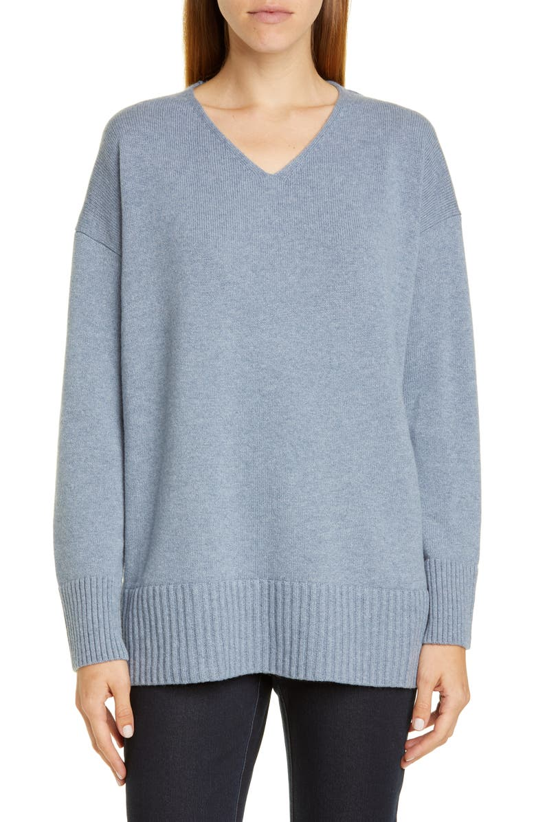 LAFAYETTE 148 NEW YORK V-Neck Cashmere Sweater, Main, color, BLUE DUSK MELANGE