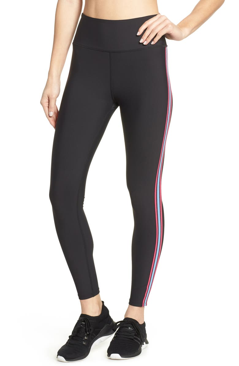 SOUL BY SOULCYCLE Contrast Stripe Tights, Main, color, BLACK