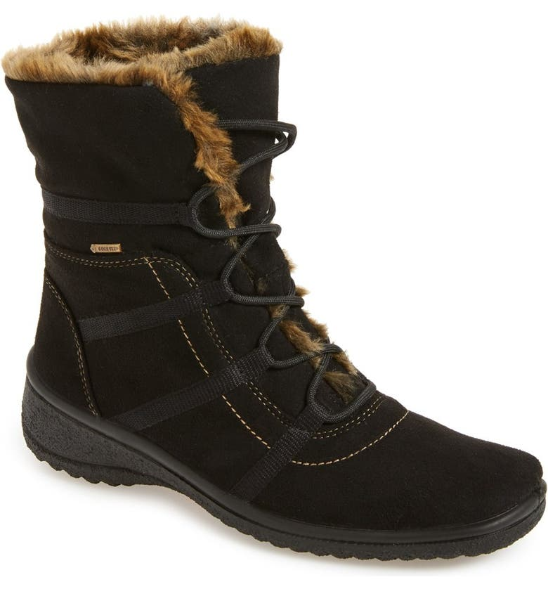 ARA Magaly Waterproof Gore-Tex<sup>®</sup> Faux Fur Boot, Main, color, BLACK FABRIC