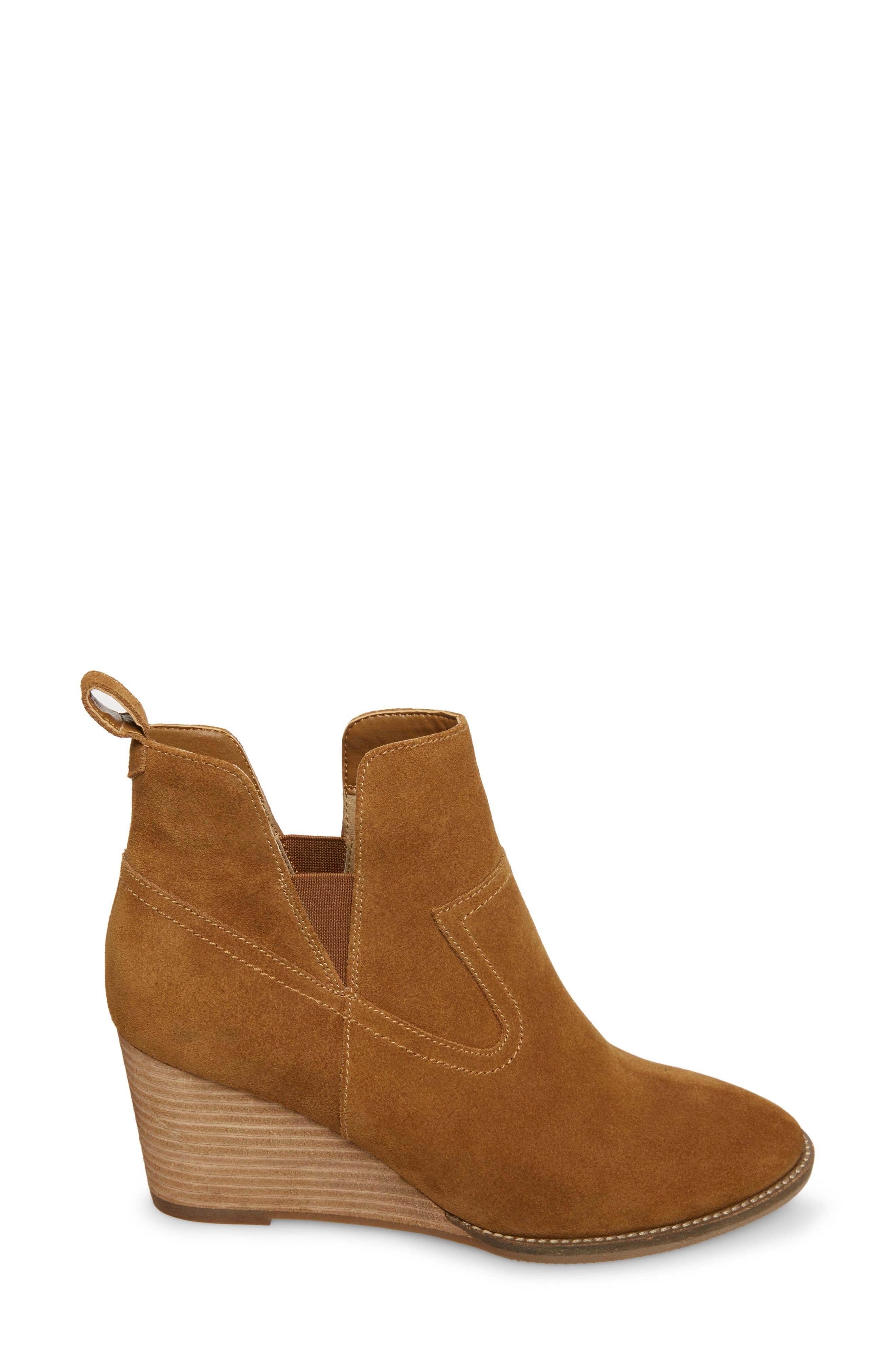 ,                             Irving Waterproof Wedge Bootie,                             Alternate thumbnail 3, color,                             CAMEL SUEDE