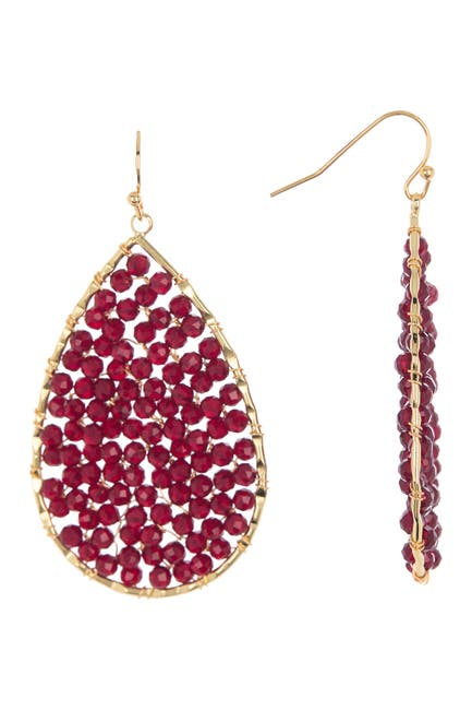 Image of Panacea Burgundy Crystal Beaded Teardrop Earrings