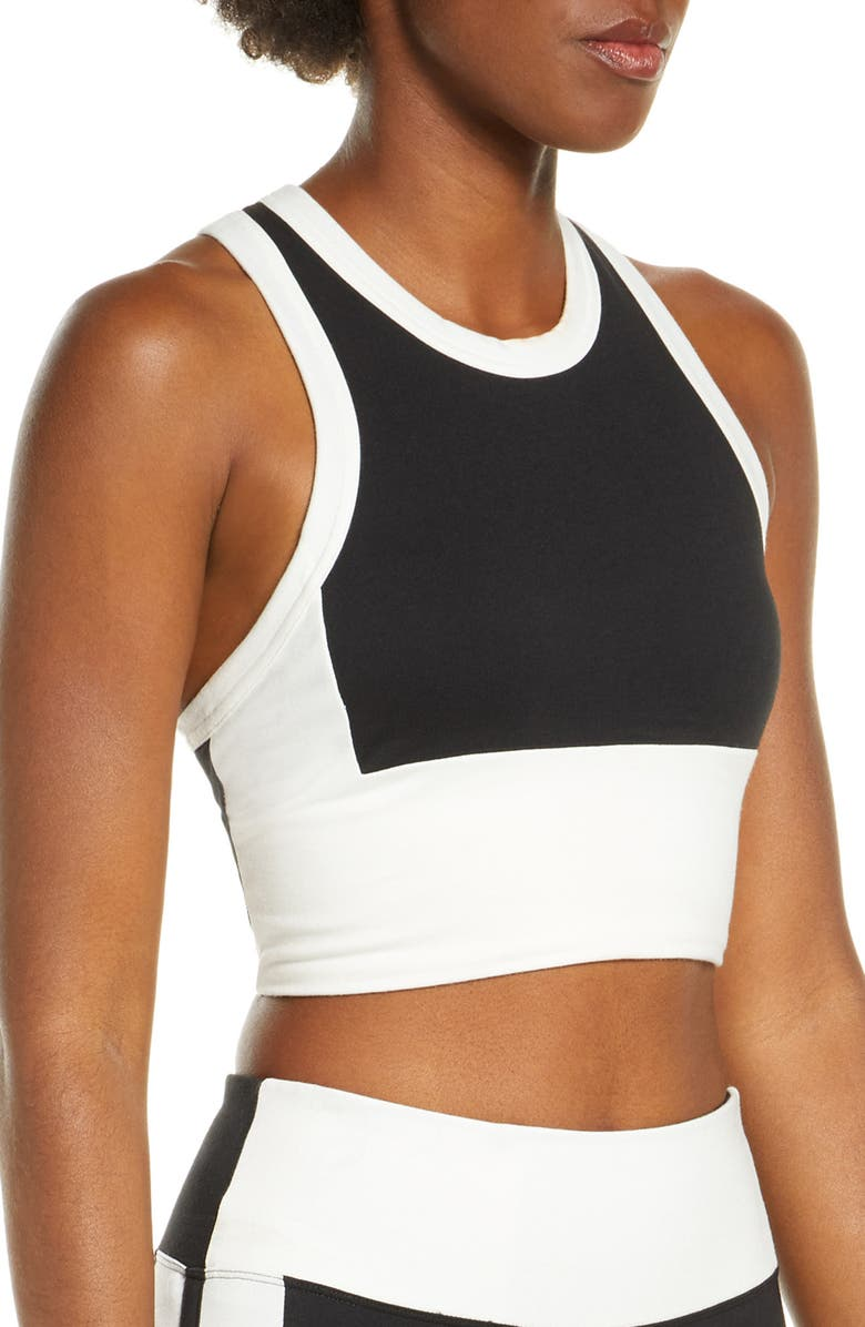 NEW BALANCE Relentless Longline Sports Bra, Main, color, BLACK/ WHITE