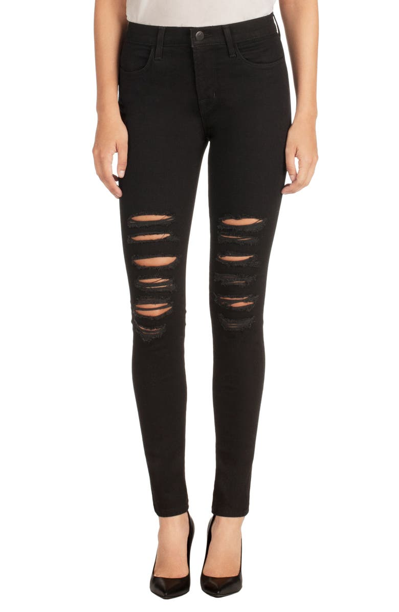 J BRAND Maria Ripped High Waist Skinny Jeans, Main, color, 002