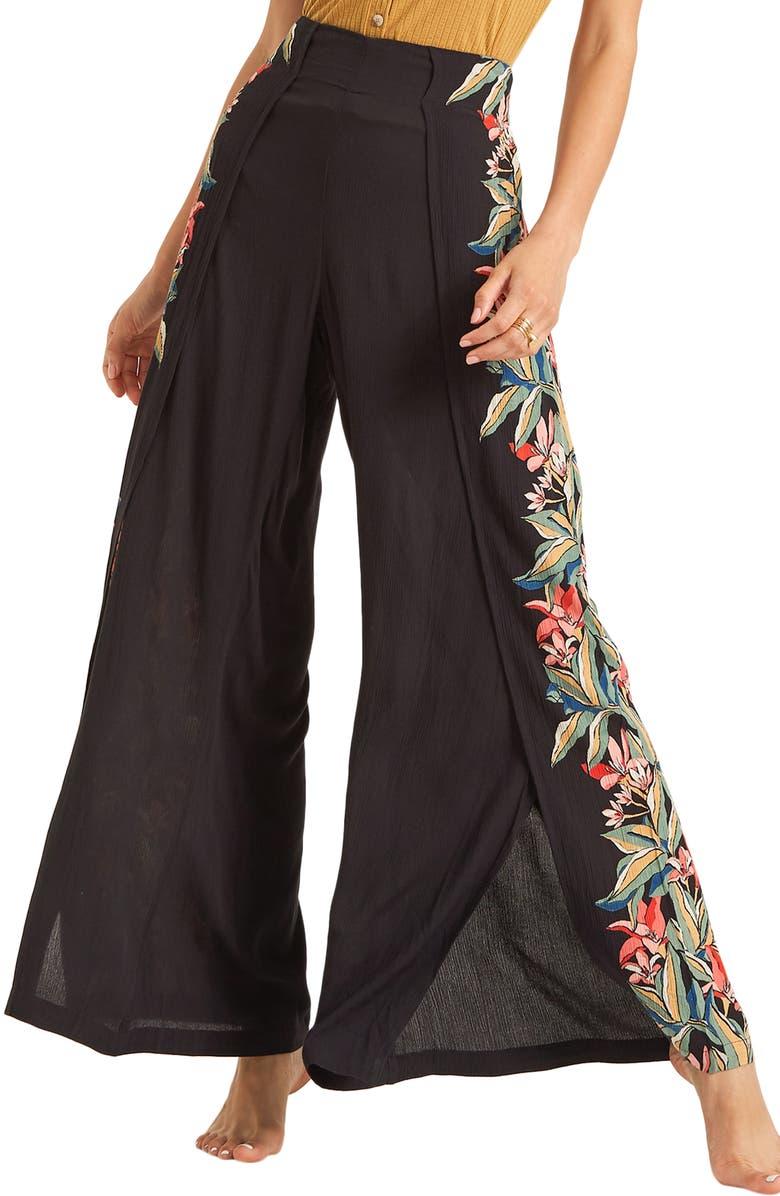 BILLABONG Split Spirit Floral Print Wide Leg Pants, Main, color, 001