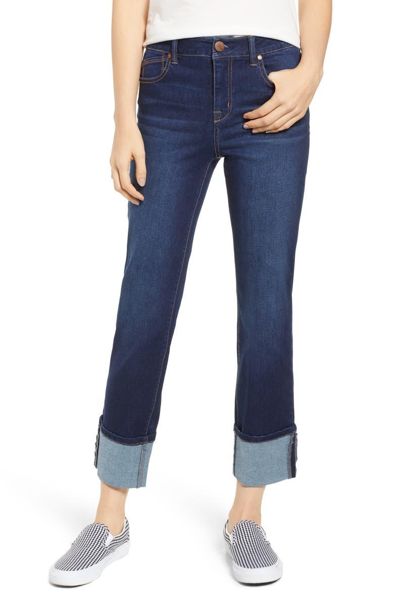 1822 DENIM Cuffed High Waist Ankle Straight Leg Jeans, Main, color, EMILY DARK WASH