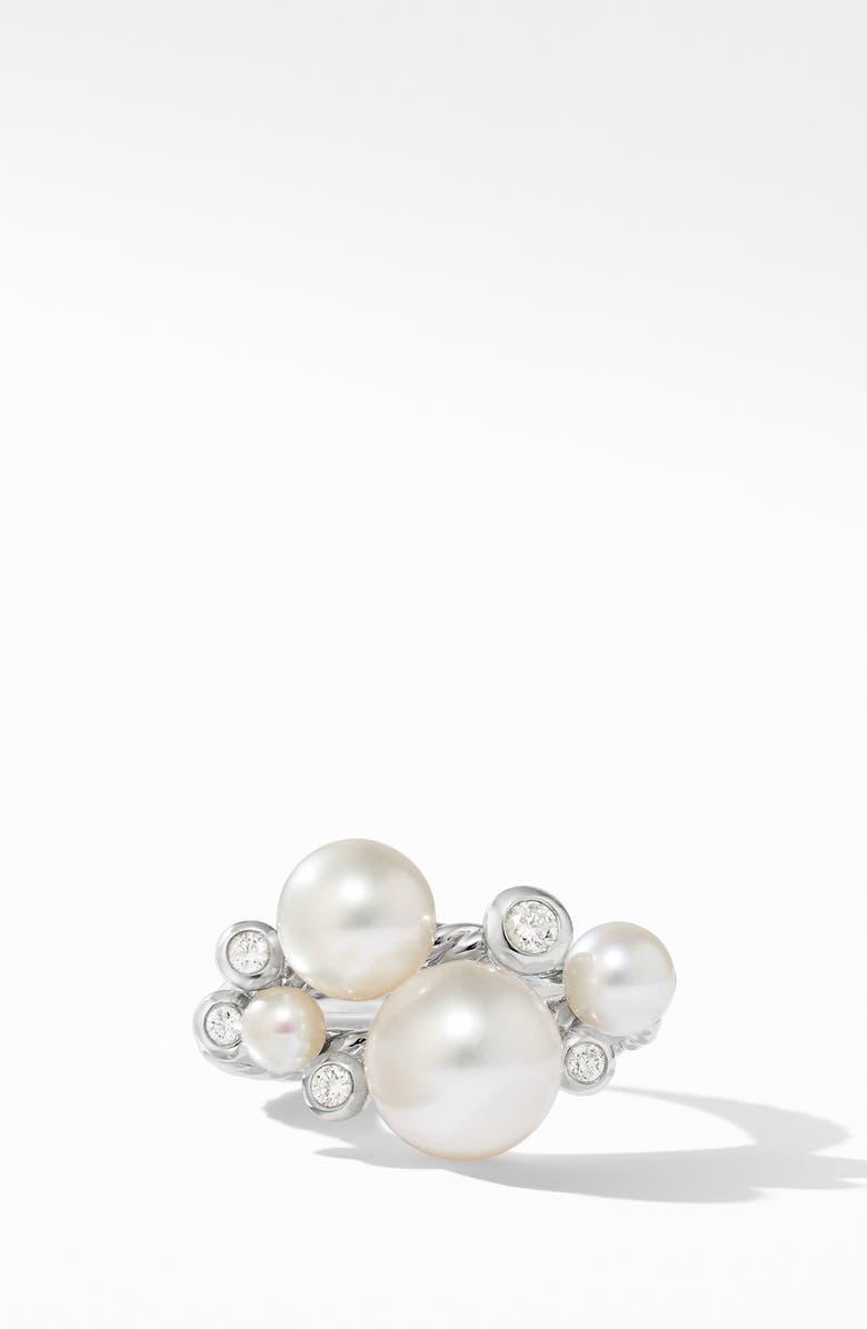 DAVID YURMAN Pearl Cluster Ring with Diamonds, Main, color, SILVER/ DIAMOND/ PEARL