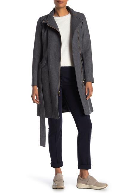 Image of Cole Haan Wool Blend Mock Neck Zip Coat