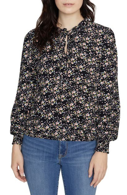 Sanctuary Knits RESOLUTION TIE NECK FLORAL TOP