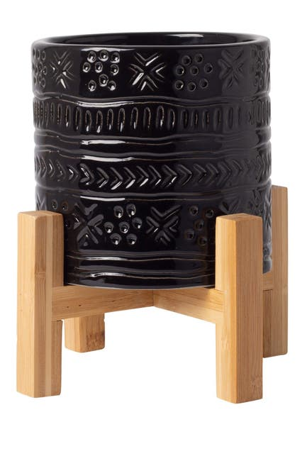 Image of Home Essentials and Beyond Black Global Planter with Wood Stand