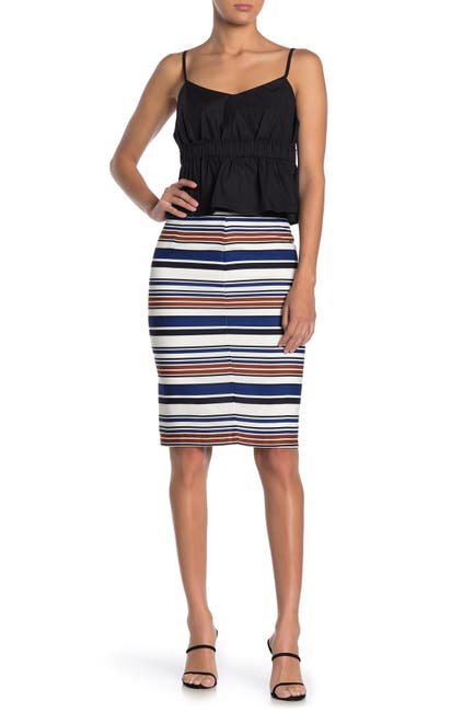 Image of English Factory Striped Pencil Skirt