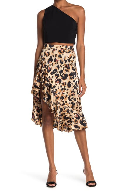 Image of HYFVE Leopard Print Ruffle Trim Midi Skirt