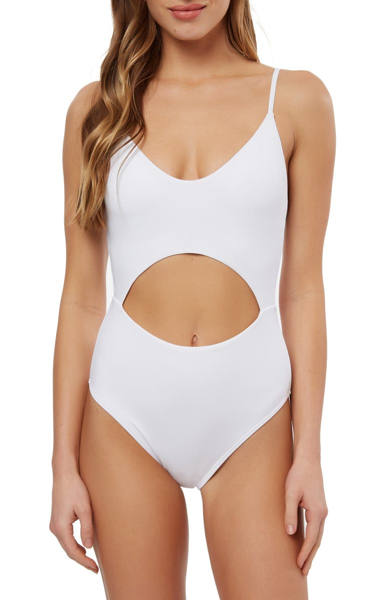 O'NEILL Salt Water Solids Cutout One-Piece Swimsuit, Main, color, WHITE