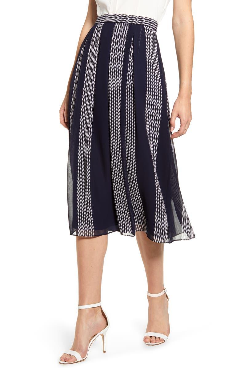 ANNE KLEIN Bilbao Stripe Skirt, Main, color, ECLIPSE/ ANNE WHITE