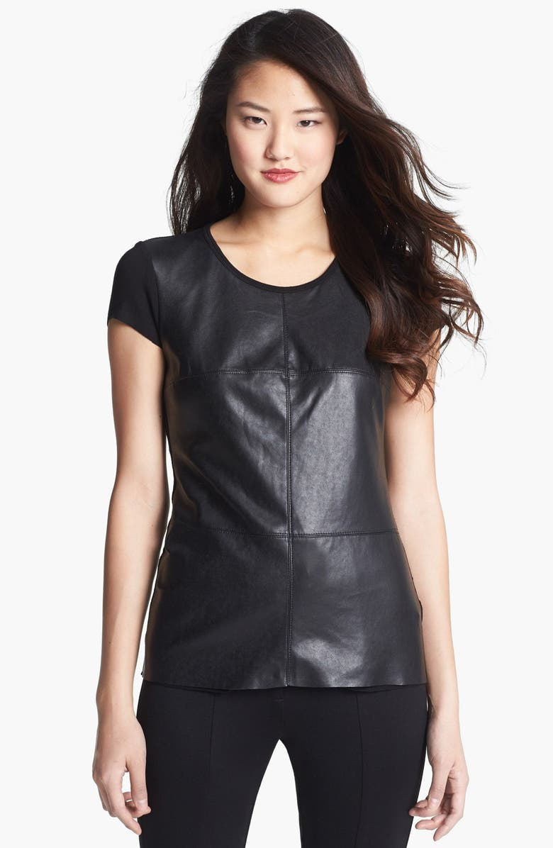 VINCE CAMUTO Faux Leather Front Tee, Main, color, 001
