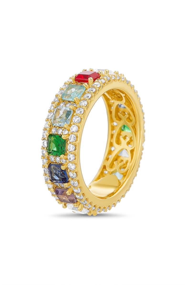 LESA MICHELE Crystal Eternity Ring, Main, color, GOLD/ MULTI