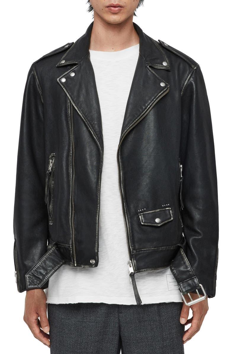 ALLSAINTS Hawley Classic Lambskin Biker Jacket, Main, color, 001