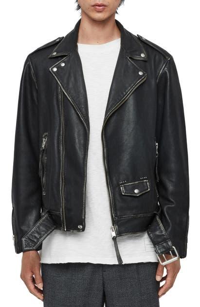 Allsaints Hawley Classic Lambskin Biker Jacket In Black