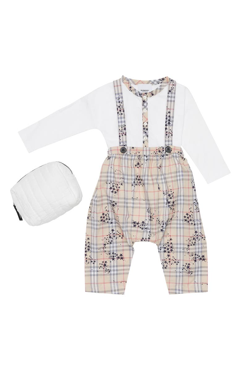 BURBERRY Star Check Bodysuit, Overalls and Bag Set, Main, color, BRIGHT NAVY PATTERN