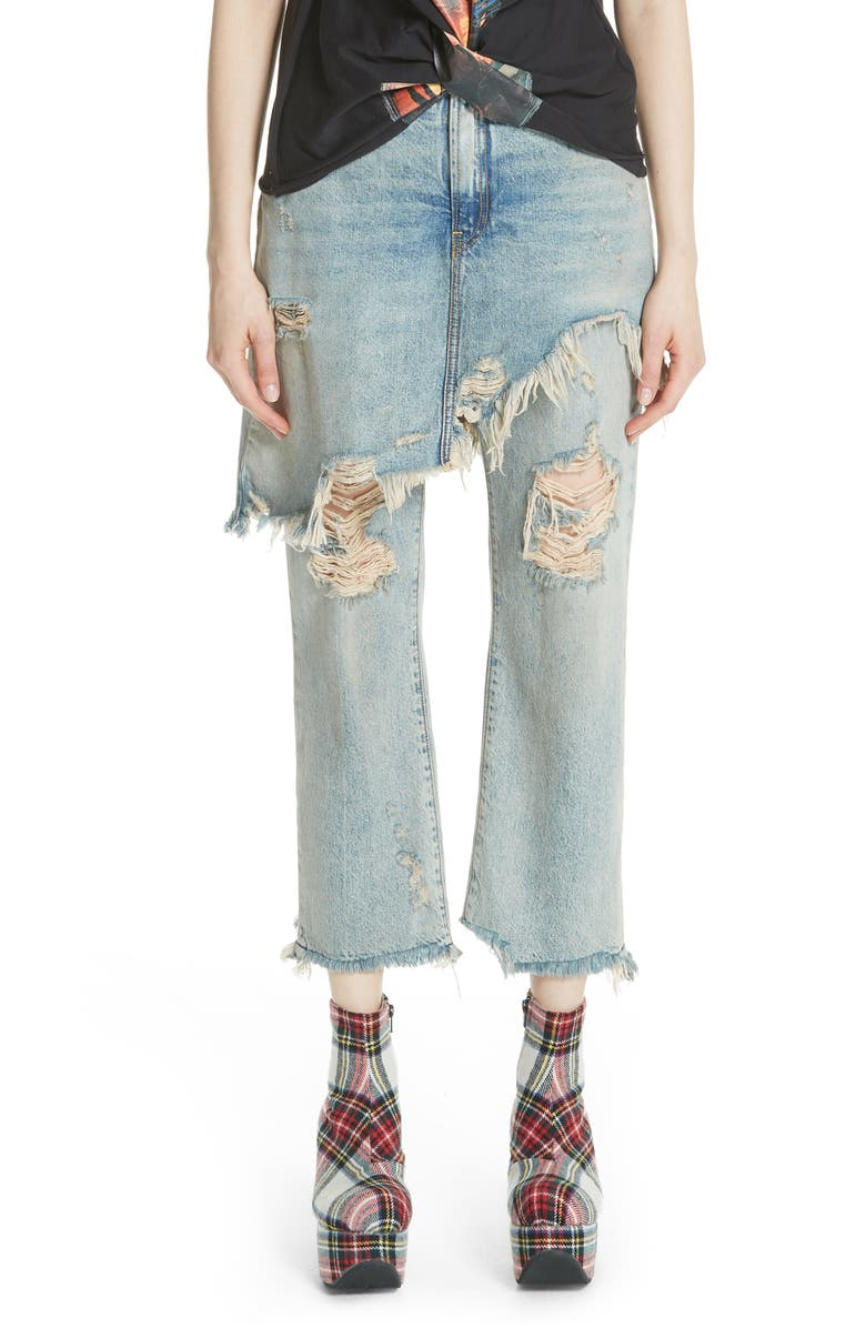 R13 Double Classic Ripped Crop Jeans, Main, color, LEYTON BLUE WASH