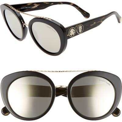 Roberto Cavalli 5m Cat Eye Sunglasses - Shiny Black/ Smoke Mirror