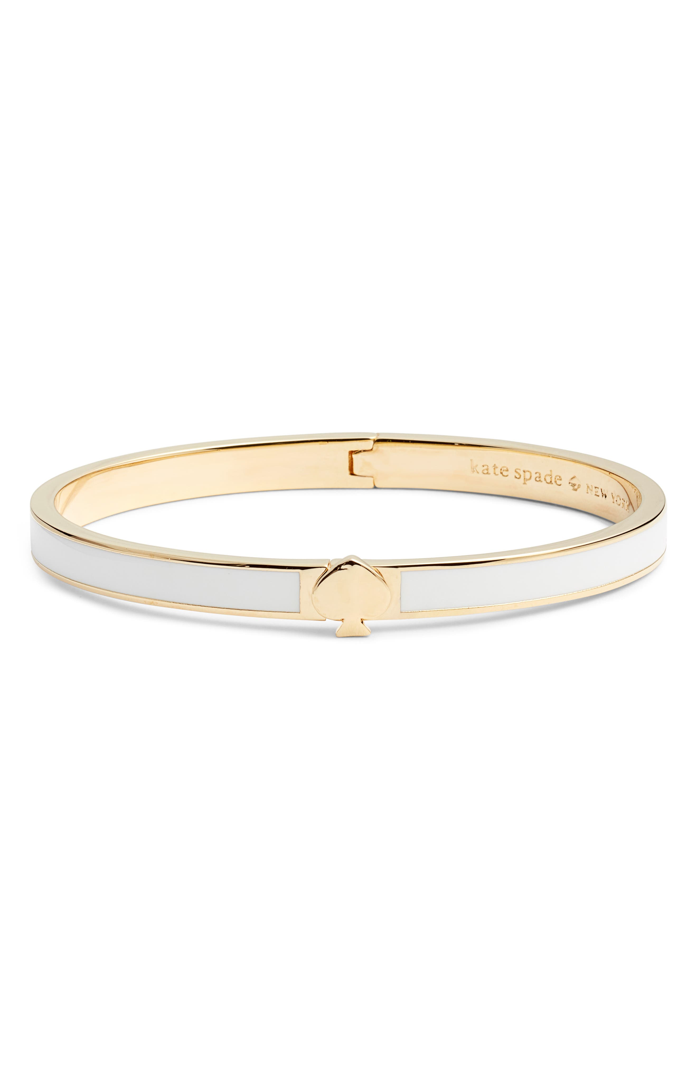 A gleaming spade adds a pretty finishing touch to this slim, enameled bangle. Style Name: Kate Spade New York Enamel Spade Bangle. Style Number: 5761041. Available in stores.