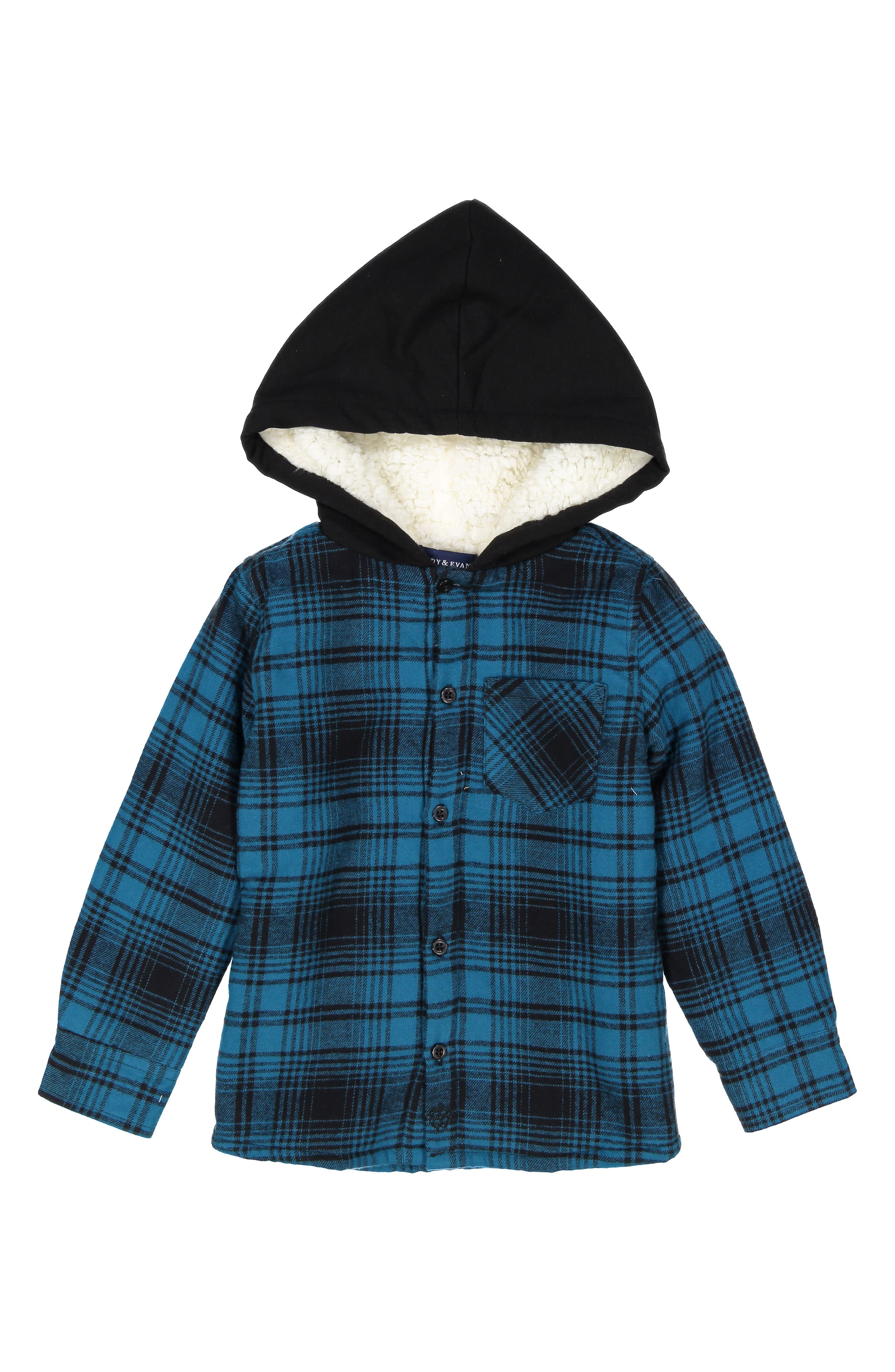 Image of Andy & Evan Faux Shearling Lined Hood Plaid Jacket