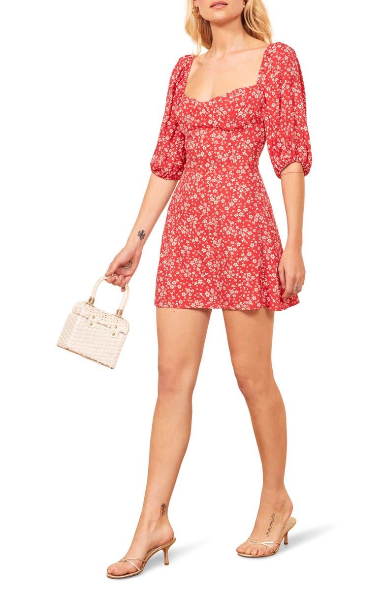 REFORMATION Kopa Sweetheart Neck Minidress, Main, color, MERCI